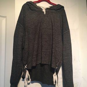 Grey flowy sweatshirt with white ties